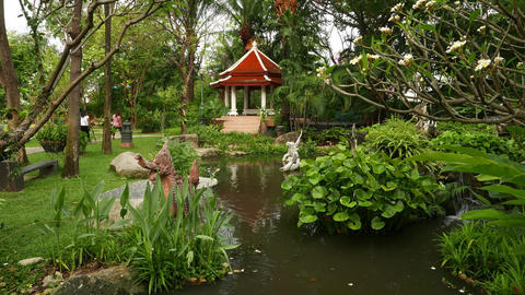 Fine pond and pagoda pavilion at Himmapan garden, beautiful gardening Live Action