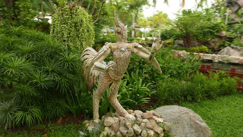 Nok Tantima statue in Himmapan garden, parallax shot around, close view Footage
