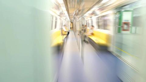 Rush through empty metro train, motion blur, POV timelapse Footage
