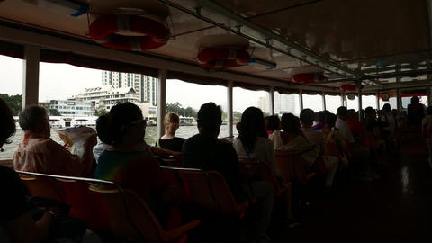 Travelling At Chao Phraya Express Boat, Dark Passenger Silhouettes stock footage
