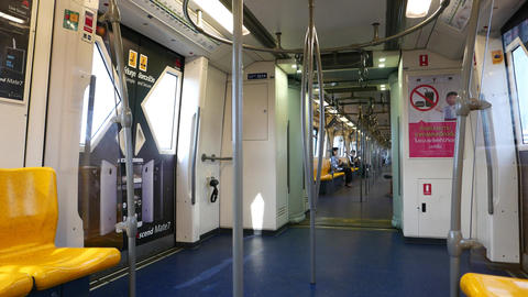Empty BTS Skytrain Wagon Interior View, From Within Moving Train, Silom Line stock footage