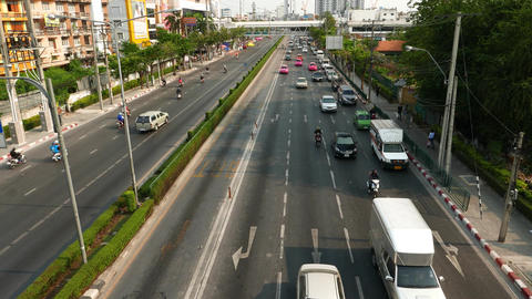 Traffic Accumulation To Congestion, View From Above The Carriageway stock footage