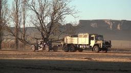 Gun Tractor Towing Gun stock footage