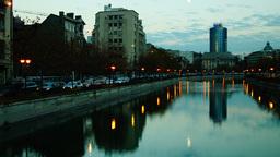 BUCHAREST, ROMANIA - November 23: Traffic over Splaiul Independentei on November Footage