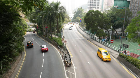 Slightly curved Garden Road join with Cotton Tree Rd, Hong Kong Island Footage
