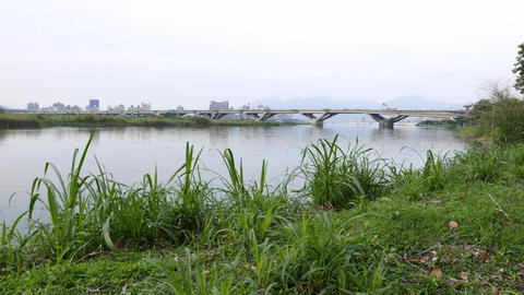 Tamsui river, Zhongxiao bridge, Weastern Mainline line road Footage