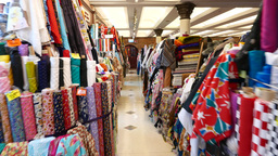 Western Market interior: classic fabric selling market Footage