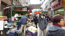 POV walking up Graham street market, Hong Kong city Footage