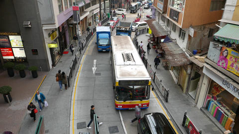 Traffic jam on narrow Hollywood road at daytime, top point view Live Action