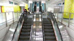 Steel glossy escalators travelling up and down Footage