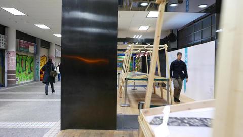 Central Escalator Link Alley fabric expositon, corridor within Central Market Footage