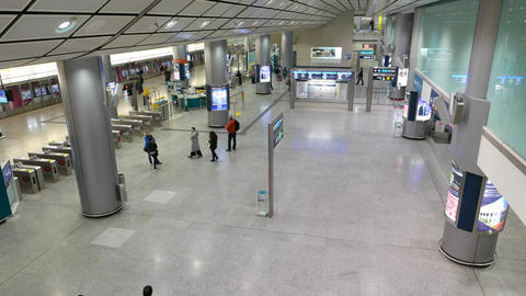 Airport express arrival hall in Hong Kong city, train stop at platform Footage