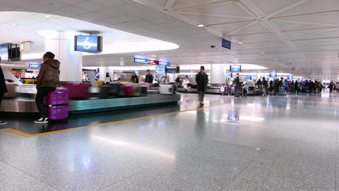 Transporter with baggage, arrival lounge, airport, TIMELAPSE Footage