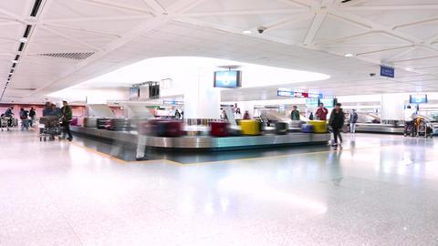 Luggage claim conveyor in modern airport. TIMELAPSE Footage