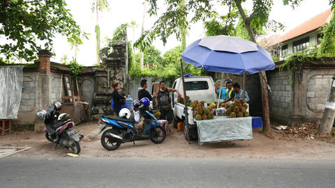 Selling durian fruit from small truck on the Balinese street Live Action