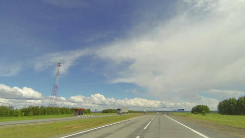 Clouds over the road. The path from Ivanaevo village - Bolshoy Mashlyak village, Live Action