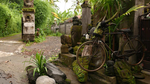 Hand-made Decoration In Front Of Balinese Village Gate, Stone Sculptures stock footage