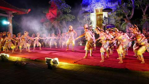Colorful costumes, night Balinese performance, loud swear from main hero Footage