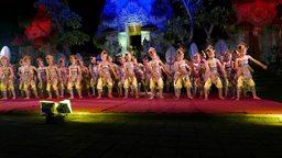 Modern Balinese dance performance, large woman group sway, night stage Footage