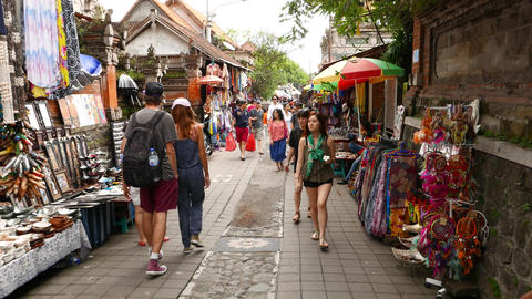 Walk forward by souk alley, stalls groaning with goods and souvenirs Footage