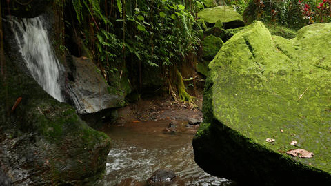 Hidden Waterfall And Collapsed Stone, Mossy Rocks, Tropical Mountains stock footage