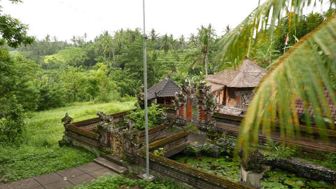 Small Balinese Villa Against Mountain Landscape, Pan Shot stock footage