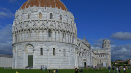 Baptistery And The Cathedral Of Pisa, Leaning Tower, Italy stock footage
