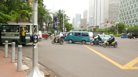 Boy Push Stalled Minivan, Crowded Traffic Area Street Junction, Side View stock footage