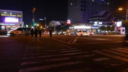 Muslim Girls Cross Night Road On Green Light, Street Junction, Traffic Sounds stock footage