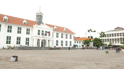 Colonial city hall building front view, Jakarta city Footage