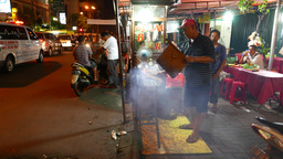 Mobile kitchen at night street, kitchener at steamy grill Footage