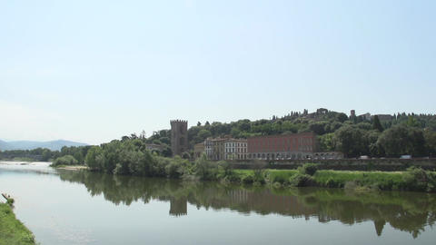 Arno river with view at porta san niccolo Footage