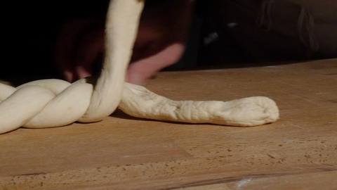 german baker bread plait braid challah spotlight dolly 11768 Footage