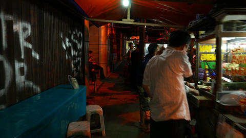 Authentic Night Street, People And Mobile Kitchen Working stock footage
