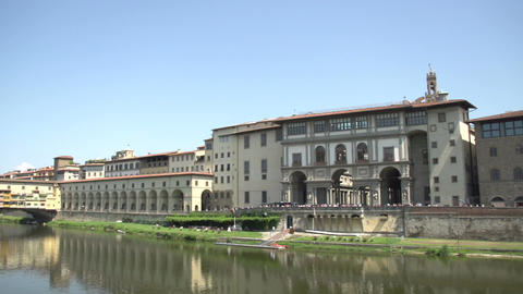 Pan Shot From Museum Galileo To Ponte Vecchio stock footage