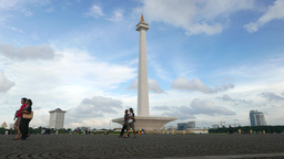National Monument, Jakarta, against nice blue clouded sky Footage