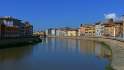 Old Town Of Pisa At The Arno River stock footage