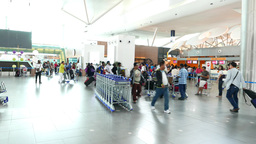 KLIA check-in counters concourse area, crowded noisy place Footage