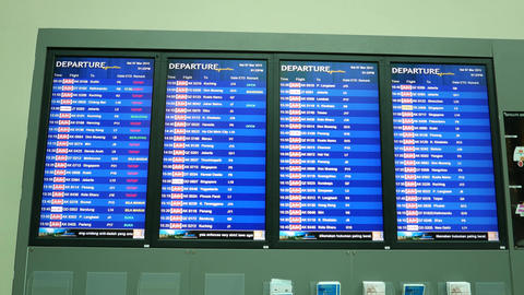 Departures Timetable Display, International Airport stock footage