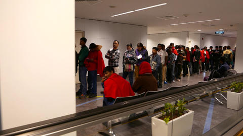 Many Indian people wait in line for boarding, delayed flight Footage
