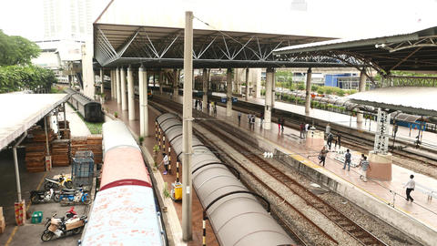 Top sliding view on railway station, camera move away to left side Footage