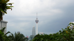KL Tower and Petronas Twin towers in one frame, telephoto shot Live Action