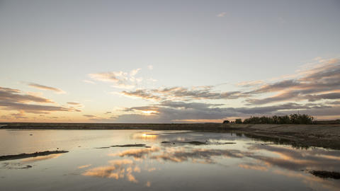 4K Cloudy Sunset Time Lapse Seascape, View Of Olhao Salt Marsh stock footage