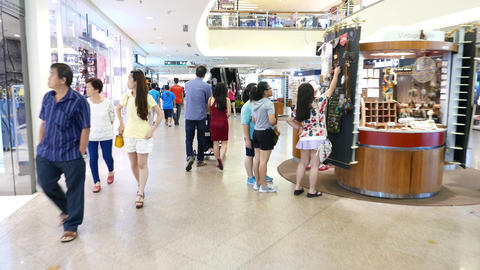 Walking in Mid Valley Megamall, people shopping, buyers, shoppers Footage