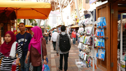 Walk through Jalan Hang Kasturi street market, famous shopping area Footage