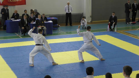 Boys compete in karate Footage
