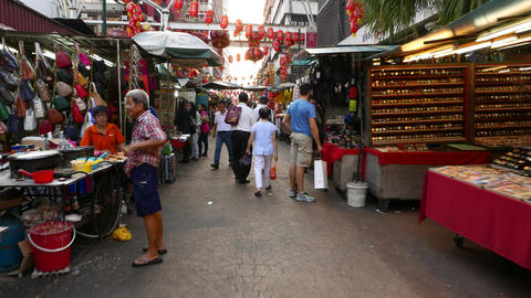 FPV walk through not very crowded chinatown street in Kuala Lumpur Footage