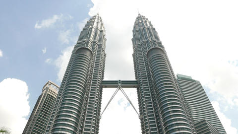 Two tall towers, Petronas Twins, Kuala Lumpur City Centre Footage