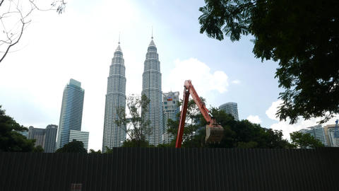 Development Construction Works Against Petronas Twin Towers stock footage