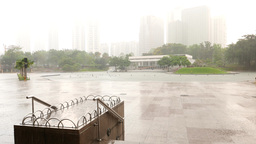 Symphony lake in rain, KLCC park, haze rainy cityscape and greenery Live Action